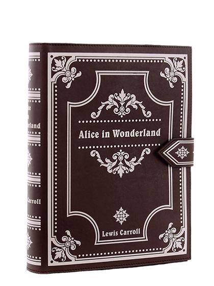 chaussures de séparation 40881 d6488 Sac livre marron Alice au Pays des Merveilles, sac à main Lewis Carroll