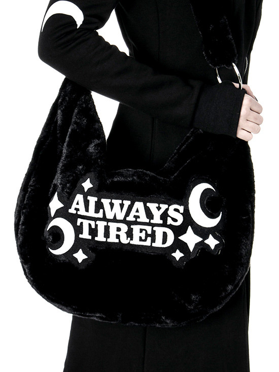 a2a7a4f667a6 RESTYLE.FR ALWAYS TIRED Black faux fur Shoulder bag with moon and stars