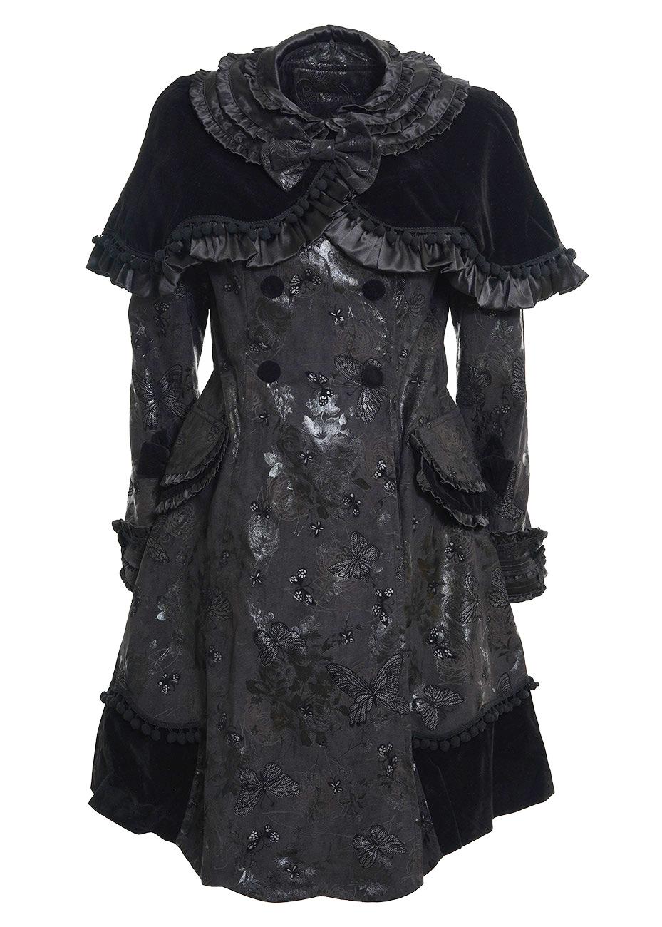 Manteau noir à motifs, noeuds et bolero gothic lolita LY 021