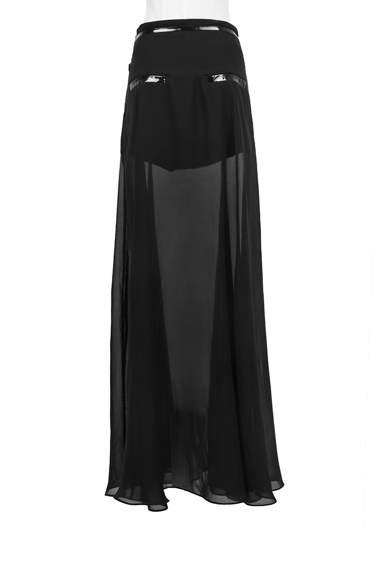Longue jupe à voile semi transparent et dessus opaque gothique fashion Punk Rave